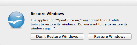 OpenOffice Restore Windows Popup Image